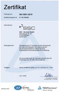 SSC-Zertifikat ISO 9001