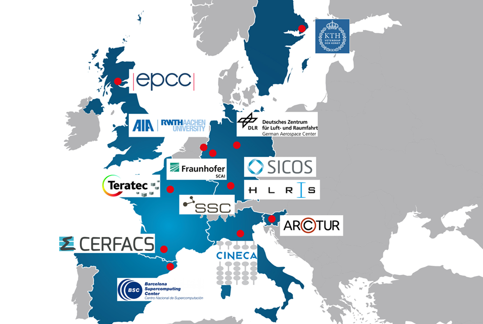 SSC-Services_Newsroom_EXCELLERAT_EU-Projektteilnehmer_Map